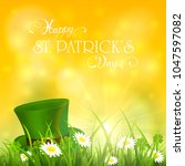 green hat of leprechaun in... | Shutterstock . vector #1047597082