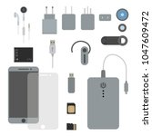 phone accessories set flat... | Shutterstock .eps vector #1047609472