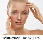 beautiful face and hands woman  ... | Shutterstock . vector #1047611476