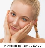 beautiful face and hands woman  ... | Shutterstock . vector #1047611482