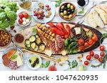 grilled meat  chicken skewers... | Shutterstock . vector #1047620935