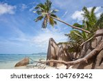 Beach of Anse Source d'Argent, La Digue, Seychelles, Africa - stock photo