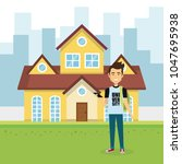young man outside house | Shutterstock .eps vector #1047695938