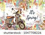 Stock vector beautiful spring vector illustration with flowers and bike 1047708226