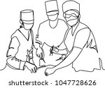 doctors and nurses. one line | Shutterstock .eps vector #1047728626