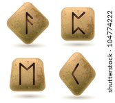 Runes Engraved On Stone. Set...