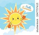 Smiling Sun Cartoon On Blue...