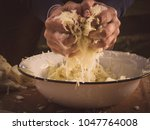 image shows two hands pressing... | Shutterstock . vector #1047764008