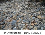 Small photo of rock and pebbles amass by the ocean side.