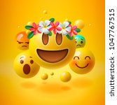 realistic yellow emoticons with ... | Shutterstock .eps vector #1047767515