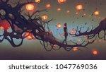man walking on a tree branch... | Shutterstock . vector #1047769036