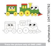 funny locomotive to be traced... | Shutterstock .eps vector #1047785782