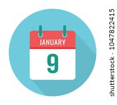 january 9 calendar blue icon... | Shutterstock .eps vector #1047822415