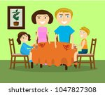 a family with two children is... | Shutterstock .eps vector #1047827308