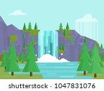 beautiful flat waterfall...   Shutterstock .eps vector #1047831076