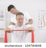 physiotherapy  senior man doing ... | Shutterstock . vector #104784848