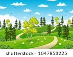 rual summer landscape with trees | Shutterstock .eps vector #1047853225