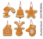 vector gingerbread set.... | Shutterstock .eps vector #1047853846