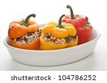 stuffed peppers in a dish on... | Shutterstock . vector #104786252