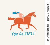 girl riding a red horse funny... | Shutterstock .eps vector #1047875095