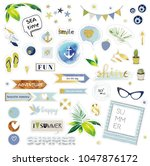 marine set design elements. ... | Shutterstock .eps vector #1047876172