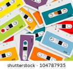 set of colored audio cassettes... | Shutterstock . vector #104787935