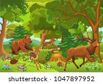 Stock vector wild animals playing and running through the forest 1047897952