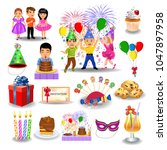 birthday icons and clip arts... | Shutterstock .eps vector #1047897958