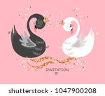 Wedding Illustration With Swan...