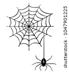 cartoon spider in spider web as ... | Shutterstock . vector #1047901225