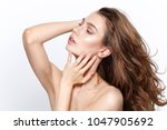 beautiful girl with natural... | Shutterstock . vector #1047905692
