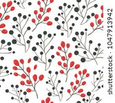 seamless berries pattern floral ... | Shutterstock .eps vector #1047913942
