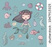 marine illustrations set.... | Shutterstock .eps vector #1047915325