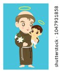 saint anthony and child jesus... | Shutterstock .eps vector #1047931858