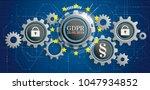 banner with gears  bits  dlock  ... | Shutterstock .eps vector #1047934852