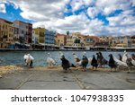 view on sea front with pigeons. ... | Shutterstock . vector #1047938335
