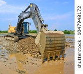 Small photo of Kalush, Ukraine – April 12, 2013: Gravel excavated in the mainstream of the rivernear the town Kalush