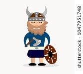 viking on a white background  ... | Shutterstock .eps vector #1047951748