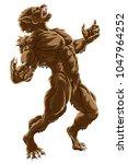 werewolf scary wolf man horror... | Shutterstock .eps vector #1047964252