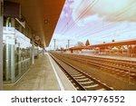 empty austria suburb railway...   Shutterstock . vector #1047976552