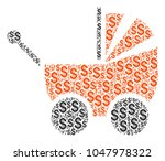 baby carriage mosaic of dollars....   Shutterstock .eps vector #1047978322