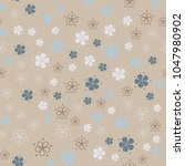 simple pastel floral pattern | Shutterstock .eps vector #1047980902