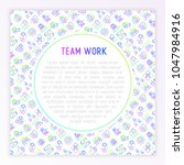 teamwork concept with thin line ... | Shutterstock .eps vector #1047984916