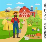 happy farmer with agricultural... | Shutterstock .eps vector #1047995806