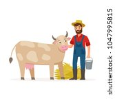 farmer with a cow and bucket... | Shutterstock .eps vector #1047995815