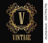 vintage ornamental logo... | Shutterstock .eps vector #1047996796