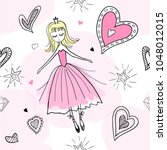 princess pink seamless pattern... | Shutterstock .eps vector #1048012015