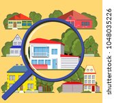 house hunting suburban with... | Shutterstock .eps vector #1048035226
