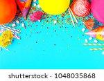 bright decor for a birthday ...   Shutterstock . vector #1048035868
