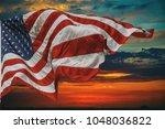 American Flag Flying  Over...
